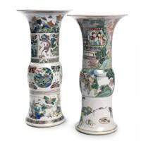 1. two chinese famille-verte vases (gu) kangxi period, (1662-1722)