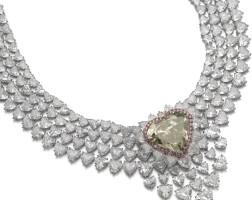 360. spectacular fancy dark brown-greenish yellow diamond and diamond necklace