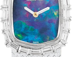 12. audemars piguet | a white gold and diamond-set bracelet watch with opal dial, circa1985