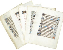 36. five illuminated leaves from four books of hours, in latin and french [france, 15th century, second half]