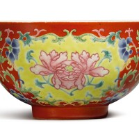 604. a coral-ground famille-rose 'peony' bowl daoguang seal mark and period |
