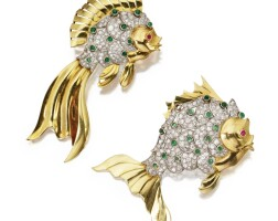 164. two gold, platinum, diamond, emerald and ruby fish brooches, circa 1950