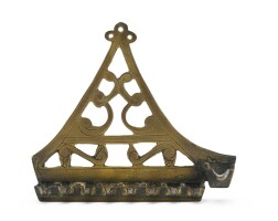 128. a french brass hanukah lamp, possibly comtat venaissin, probably 17th/18th century