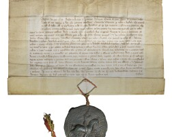 9. licence by letters patent of edward iii to the vicars of the church of st chad, lichfield, in latin; dated at westminster, 12 january 1373