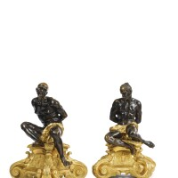 43. a pair of louis xiv style ormolu and patinated bronze figures of moorish slaves, after pietro tacca