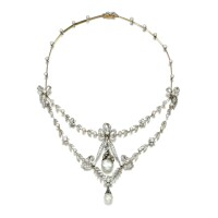 10. natural pearl,seed pearland diamond necklace, circa 1900