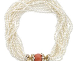 42. cultured pearl, coral and diamond choker-necklace