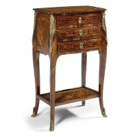 62. a fine quarter veneered kingwood and satinwood table à écrire louis xv/louis xvi transitional, circa 1770-1775