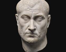30. a roman marble portrait head of a man, circa 2nd quarter of the 3rd century a.d.   a roman marble portrait head of a man