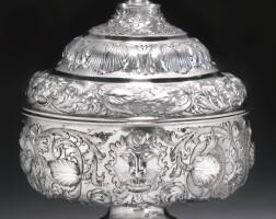1. a portuguese silver bowl and cover, maker's mark mf (almeida no. l-415) conjoined, lisbon, late 17th century