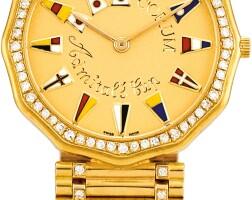 163. corum   admirals cup, reference 4481065v67 a yellow gold diamond-set bracelect watch, circa 1990