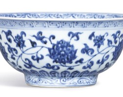 10. a fine and rare blue and white 'lotus' bowlmark and period of xuande  