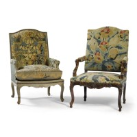 40. a carved walnut and beechwood fauteuil and a carved green painted bergère régence and louisxv, 18th century