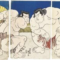 49. utagawa kunisada i (1786–1864)sumo wrestlers koyanagi and arauma, with senior wrestler toshiyori sakaigawa and referee (gyoji) shikimori kichiro  