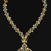 28. ajewelled and enamelled goldcross pendant andchain, georgian, late 17th century