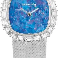 11. audemars piguet | a white gold and diamond-set bracelet watch with opal dial, circa1985