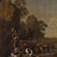 10. johan le ducq | sportsmen resting with their hounds in a rocky landscape