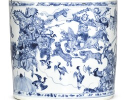 317. a superb blue and white brushpot transitional period