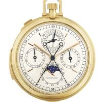 69. 愛彼(audemars piguet)   5526ba型號「grande complication」黃金萬年曆三問追針計時懷錶備月相及閏年顯示,年份約1971。