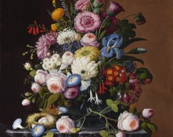 81. severin roesen | still life with flowers and nest of eggs