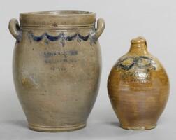 182. two cobalt-blue decorated swag and bellflower-impressed salt-glazed stoneware vessels, commeraws stoneware, new york, 1800-1815