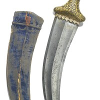 218. a steel dagger with gold-overlaid hilt and scabbard, india, 19th century