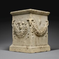 36. a roman marble funerary altar inscribed for julia lyris, 1st century a.d.   a roman marble funerary altar inscribed for julia lyris