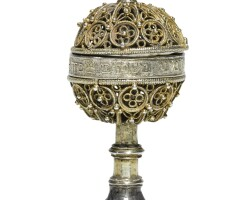 612. a germanic parcel-gilt silver filigree spice container, probably 16th or 17th century |