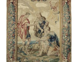 49. a french tapestry depicting the labarum ofconstantine from the constantine serie, probably parisian workshop or manufacture des gobelins, late 17th/early 18th century, after the design by pierre-paul rubens  