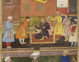 2. akbar in old age resting with attendants in a palace garden,mughal, circa 1600