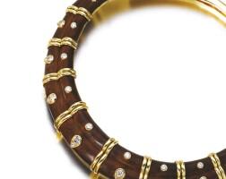 510. wood, diamond and gold necklace, 'yaroupi', boucheron
