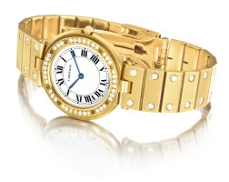 14. cartier   santos vendôme a yellow gold and diamond-set bracelet watch, circa 1990