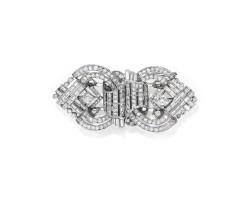 28. diamond double clip brooch, 1940s