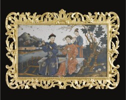2. a fine chinese export reverse painted mirror late 18th century