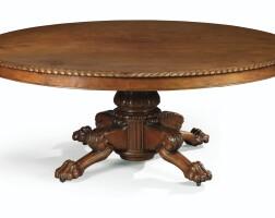 18. table de salle à manger en acajou et placage d'acajou d'époque restauration dans le goût de jacob-desmalter, vers 1820