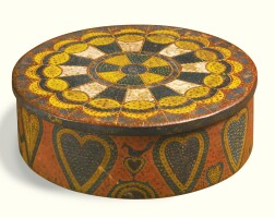 665. rare polychrome painted pine and maple round box with heart decorations, george robert lawton (1813 - 1885), scituate, providence county, rhode island, circa 1845