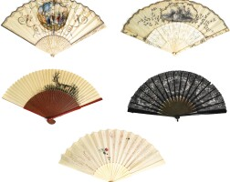 43. a group of fivefans, french, austrian andspanish, various dates   a group of fivefans, french, austrian andspanish, various dates