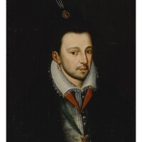 7. french school, 17th century | portrait of king henry iii (1551-1589), half length, wearing a ribbon with the badge of the order of the saint-esprit andhat adorned with a jeweled feather brooch