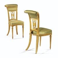 """133. rare paire de chaises ponteuses """"à l'anglaise"""" en bois redoré d'époque louis xvi, estampillée g. iacob, vers 1780"""