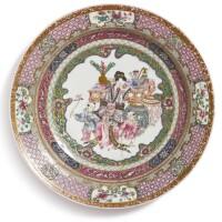 1056. 清十八至十九世紀 粉彩盤三件  