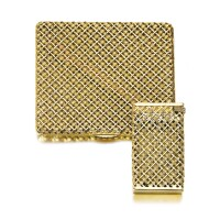 509. gold and sapphire cigarette case and a lighter, 1970s