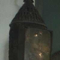 189. two sheet iron hanging lanterns, american, 19th century