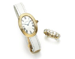 163. lady's wristwatch, 'baignoire',cartierand a diamond ring