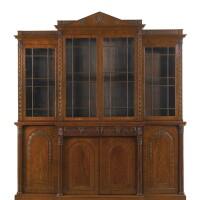 34. an irish william iv mahogany breakfront bookcase circa 1830