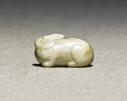 222. a small white jade 'hare' pendanttang dynasty  