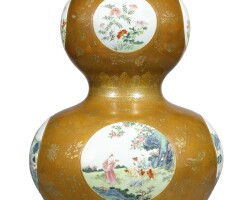 3629. a massive bronze-imitation famille-rose double-gourd vase qing dynasty, qianlong period