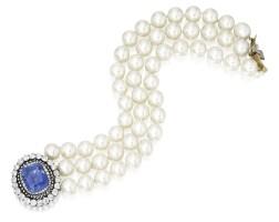 289. 養殖珍珠配藍寶石及鑽石手鏈