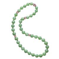 1774. jadeite bead, diamond and ruby necklace