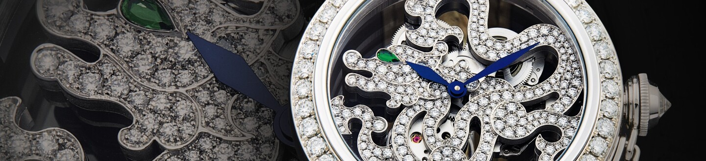 A Cartier Pasha de Cartier Dragon Decor watch with diamonds in dial in an auction selling Cartier watches