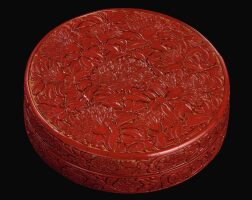 110. asuperbly carved cinnabar lacquer 'pomegranate' box and cover mark and period of yongle |